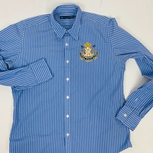 Ralph Lauren Boys 10 Blue Stripped Cotton Shirt